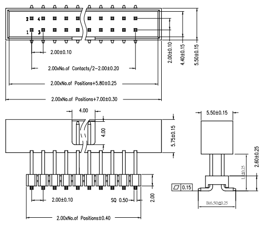 Vertical Mount Thru-Hole Elevated 2mm Pitch Box Header Drawing