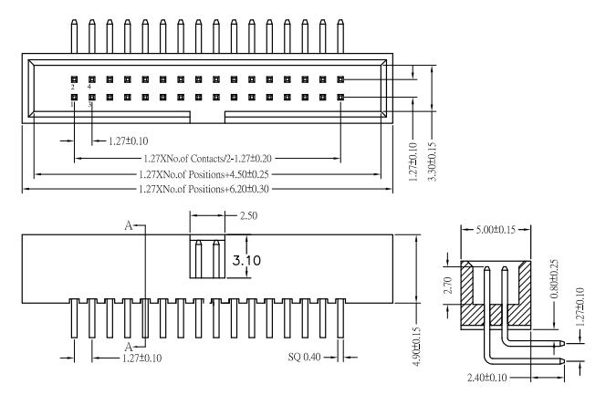 Right Angle 1.27mm Box Header, Thru-Hole, Profile 5.0 Drawing