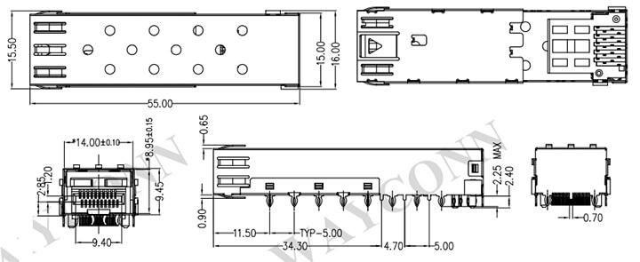 SFP 1x1 Cage Assembly, Press Fit, with EMI Clip Drawing