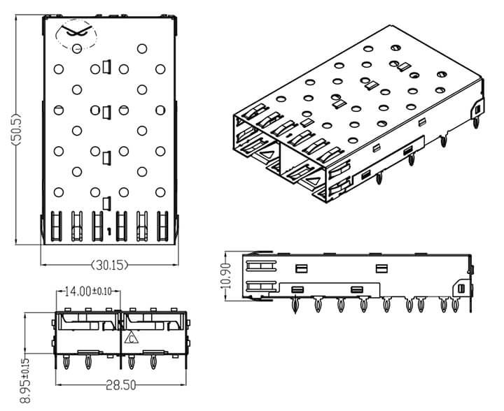 SFP Cage 1X2, Press Fit Termination Drawing