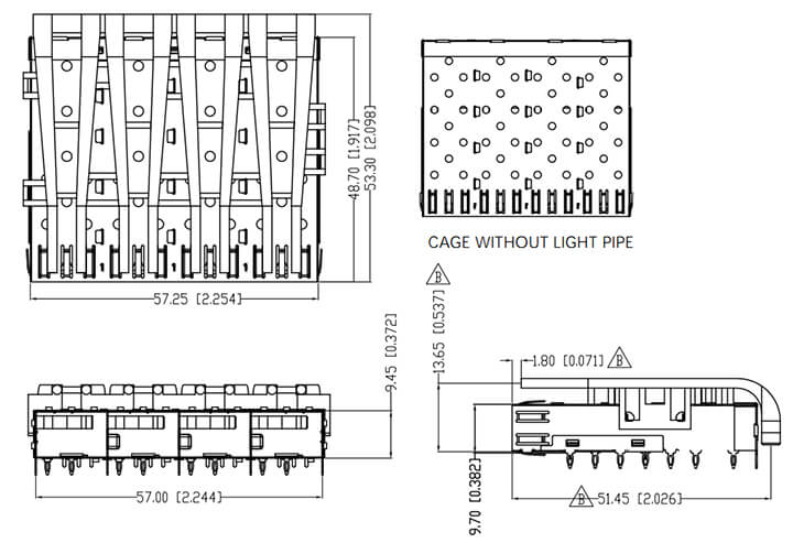 SFP Cage 1x4 Light Pipes Assembly Press Fit Drawing