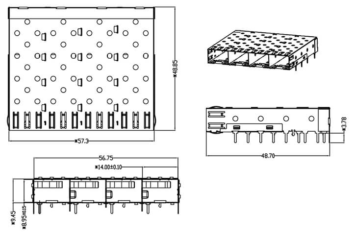 SFP 1X4 Cage Assembly Solder Tail Drawing