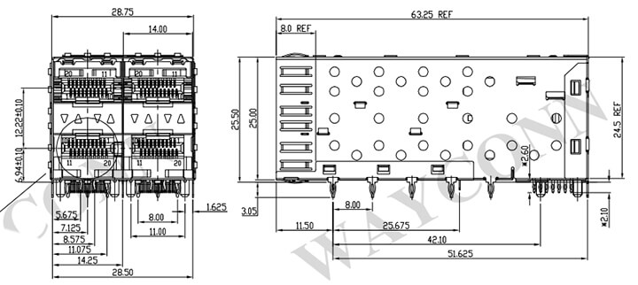 SFP Cage 2X2 Light Pipe Drawing