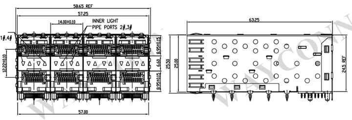 2X4 SFP Light Pipe Drawing