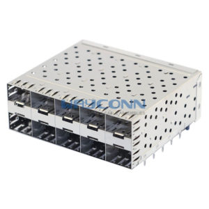 Stacked SFP 2X5 Cage ASSY with Light Pipes