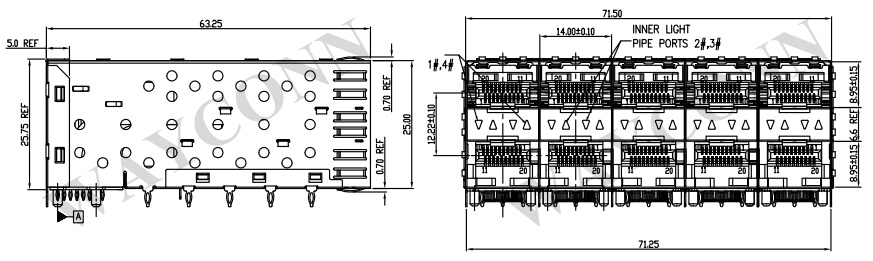 Stacked SFP 2X5 Cage Light Pipes Drawing