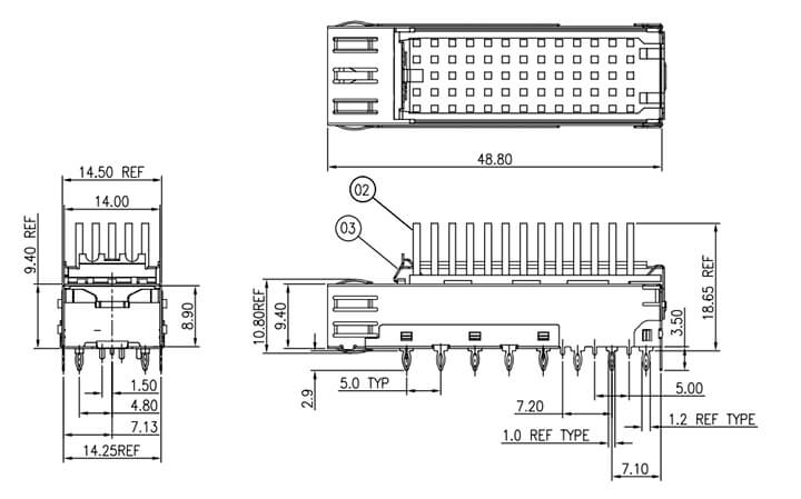 1x1 SFP Cage with Heat sink Drawing