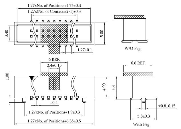 SMT 1.27mm Box Header, Vertical, Profile: 5.3mm Drawing