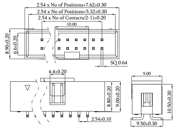 SMT Type 2.54mm Pitch Box Header, Vertical Mount Drawing