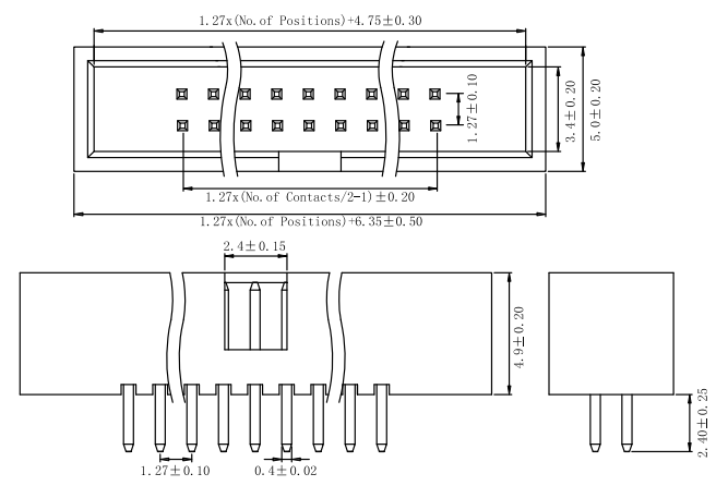 Straight 1.27mm Box Header, Thru-Hole Connector Drawing