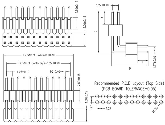 2 Row Board Spacer RA 1.27mm Pitch Connector Drawing