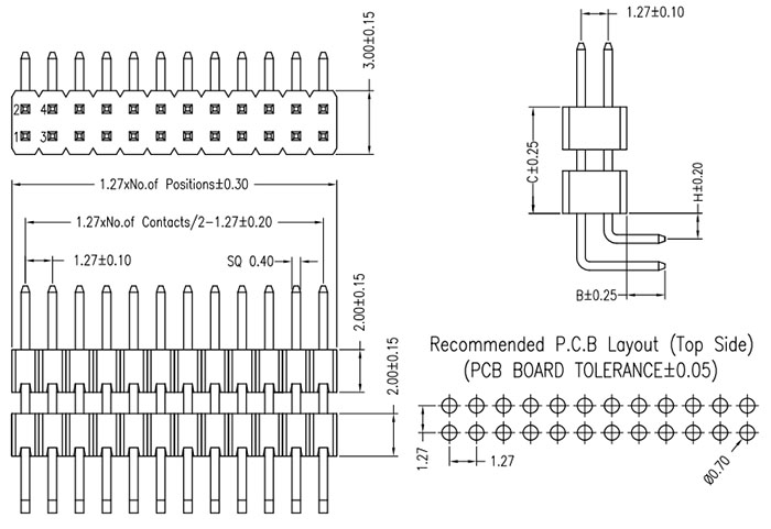 2 Row Right Angle 1.27mm Elevated Pin Header Drawing