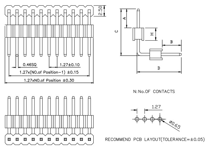 Board Spacer 1 Row Right Angle 1.27mm Pin Header Drawing