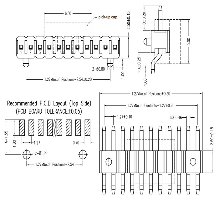 Right Angle Single Row 1.27mm SMT Pin Header w/ Post & Cap Drawing