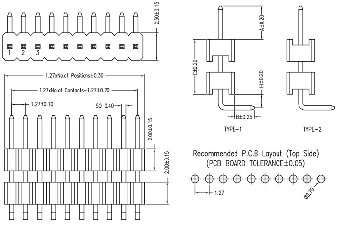 Right Angle Single Row 1.27mm Elevated Pin Header Drawing