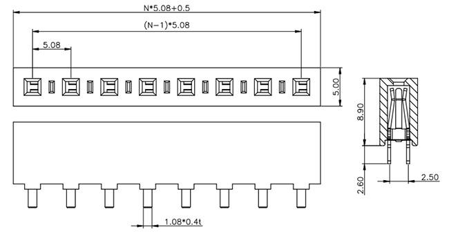 Single Row Thru-Hole 5.08mm Female Header H: 8.9mm Drawing