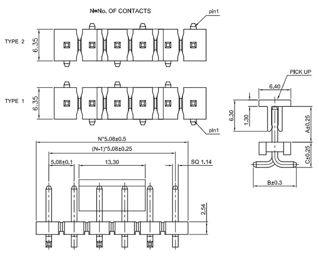 Single Row SMT 5.08mm Pitch Pin Header Drawing