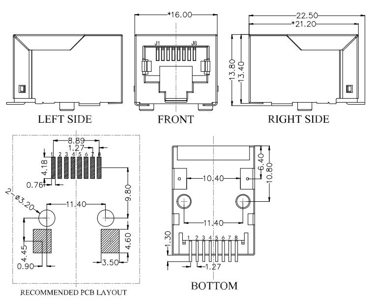 RJ45 MagJack, SMT Type, Tab-Down, 100Base-T, Shielded Drawing