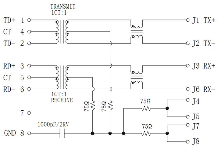 RJ45 MagJack, SMT Type, Tab-Down, 100Base-T, Shielded Schematics