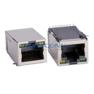 RJ45 MagJack, SMT, Tab-Up, 100Base-T, SHLD w/ LED