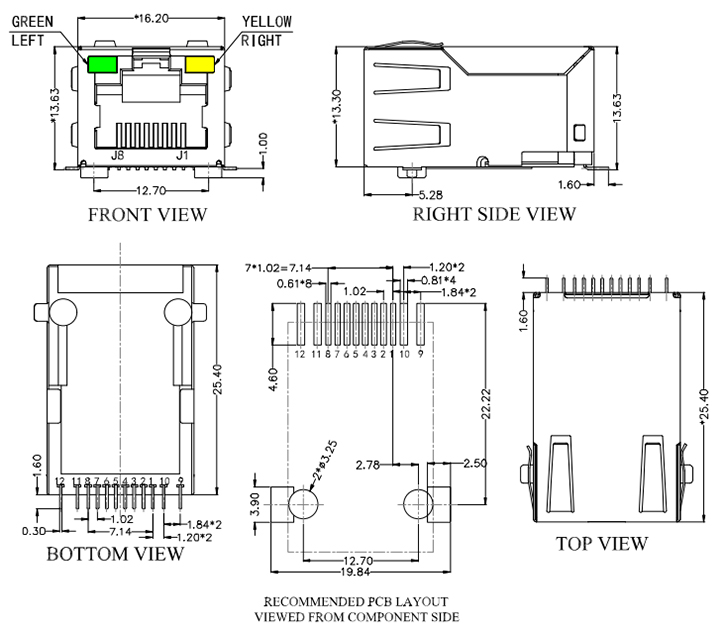 SMT RJ45 with Magnetics, 100Base-T Drawing