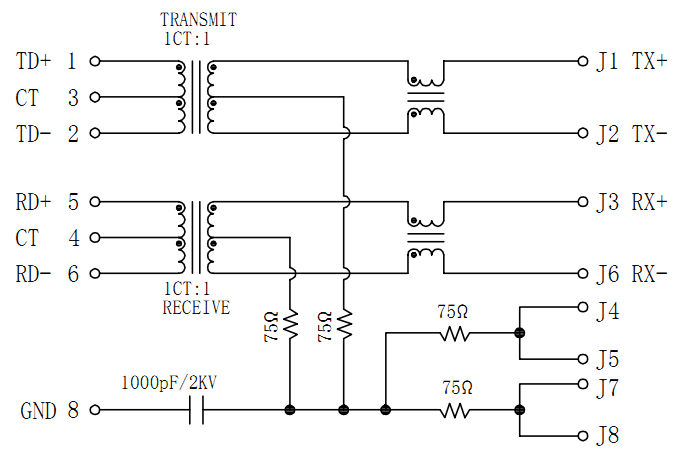 Surface Mount RJ45 with Magnetics, 100Base-T Schematics
