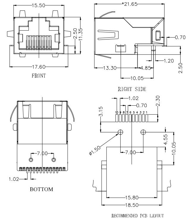1000Base-T, Sink & SMT, Tab-Up, Shielded w/ EMI Drawing