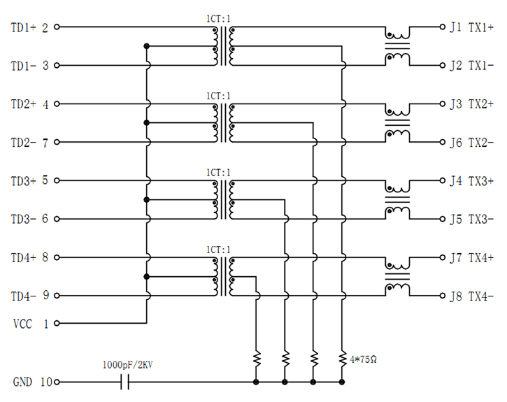 1000Base-T, Sink & SMT, Tab-Up, Shielded w/ EMI Schematics