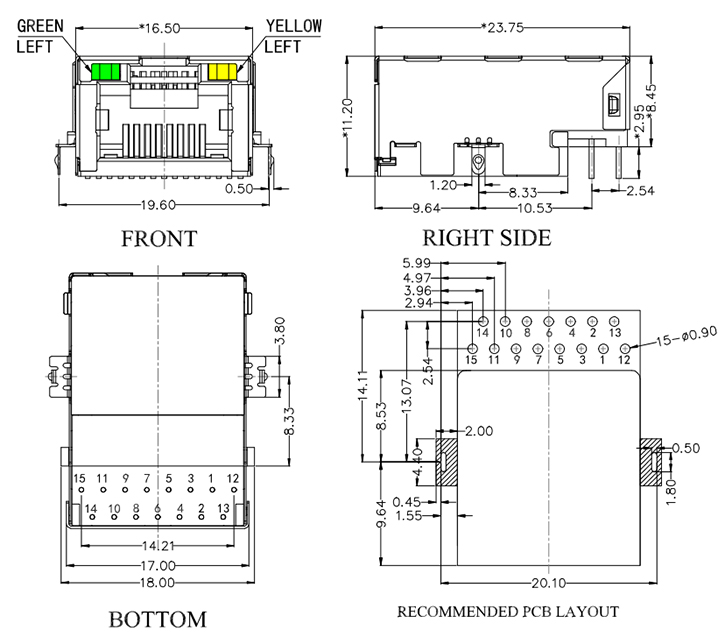 Sink Type RJ45 with Magnetics, 100Base-T Drawing