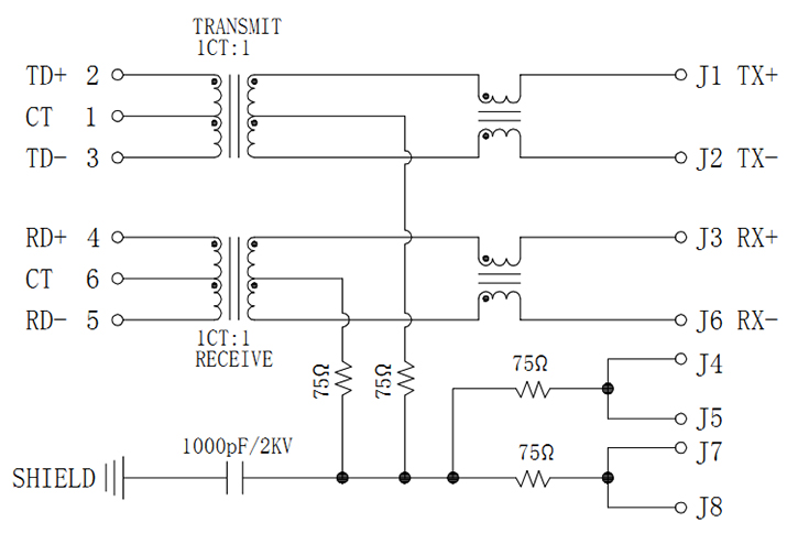 Sink Type RJ45 with Magnetics, 100Base-T Schematics