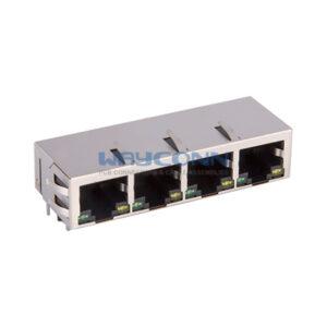 Tab-Down 1X4, 1000Base-T, Shielded w/ EMI & LED