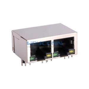 Tab-Down 1X2, 10/100/1000Base-T, Shield w/ LED