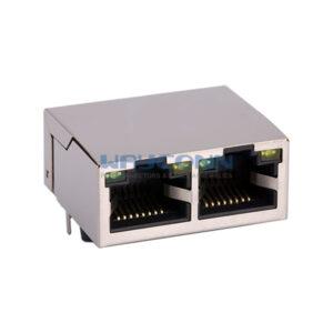 RJ45 MagJack, Tab-Up 1X2, 10/100/1000Base-T, Shield w/ LED