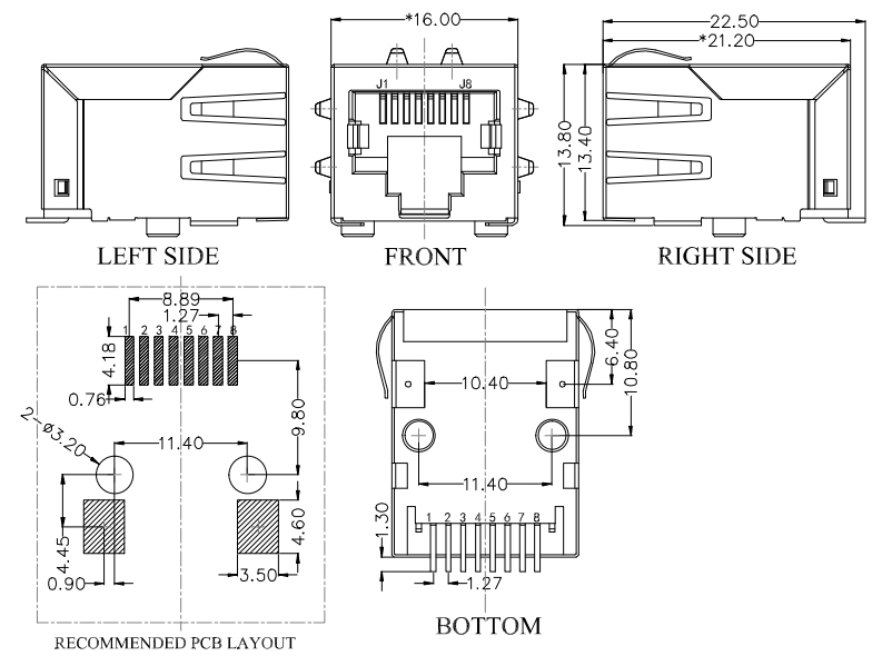 Surface Mount RJ45 with Magnetics, 100Base-T Drawing